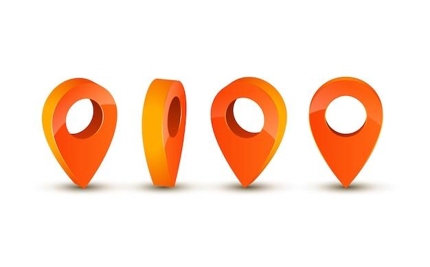 3d-zeigersymbol für die karte. zeigerstiftmarkierung für reiseort-vektorillustration