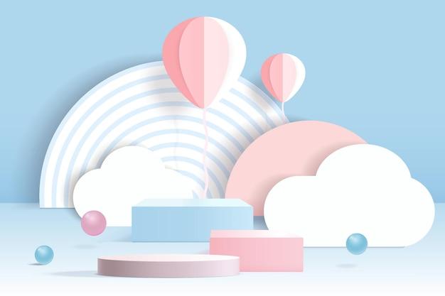 3d-zylinderpodest mit fliegenden papierelementen auf pastellfarbenem hintergrund.
