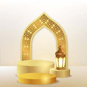 3d zylinderpodestanzeige mit arabischem muster der türmoschee mit goldener laternenlampe