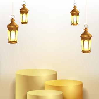 3d-zylinderpodestanzeige mit hängender goldener laternenlampe