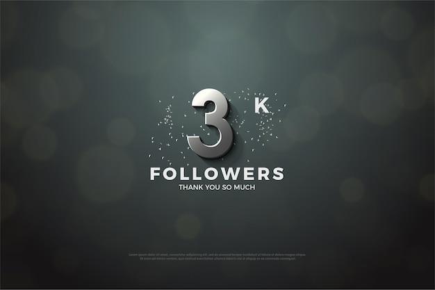3k follower hintergrund mit 3d dimensionalen silberziffern