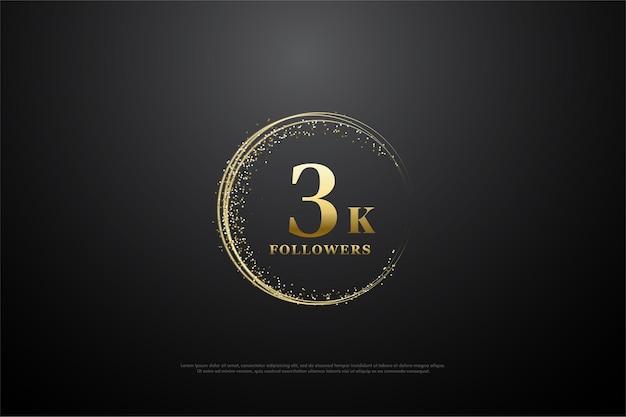 3k follower hintergrund mit goldenen sand kreisenden zahlen