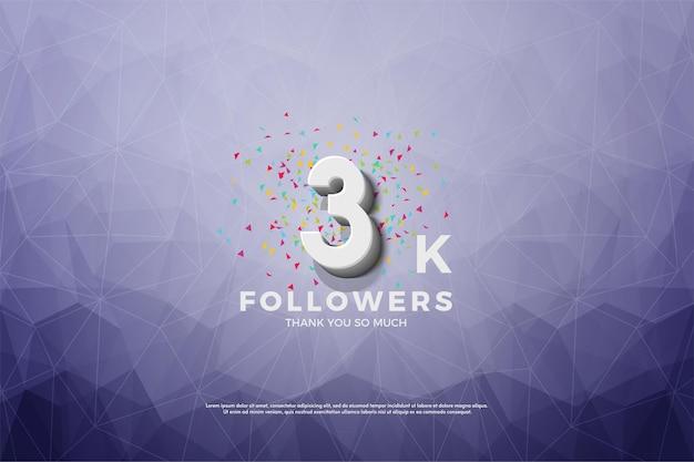 3k follower hintergrund mit kristalleffekten
