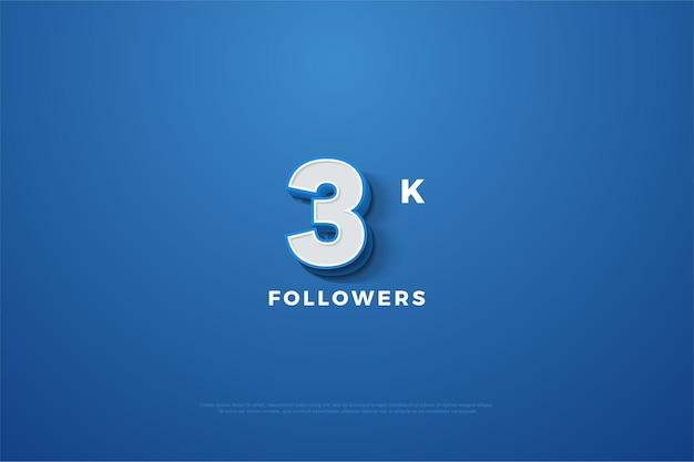 3k follower hintergrund mit schattierten 3 dimensionalen figuren