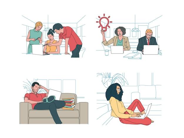 4 business and finance illustration im modernen handgezeichneten designstil. mann und frau, firmenkollegen, arbeiter diskutieren, haben eine idee, sitzen auf der couch, arbeiten am laptop, notebook