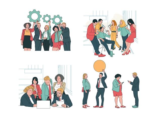 4 business & finance illustration im modernen handgezeichneten designstil. mann, frau, kollegen, teamwork, halteeinstellung, blasentext, chat auf dem handy, diskussion auf notizbuch, halten der mineralwasserflasche
