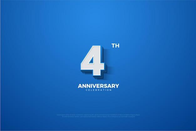 4. jahrestag mit blau geprägter 3d-nummer.