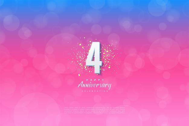 4. jahrestag mit illustration des hintergrunds von blau nach rosa abgestuft.