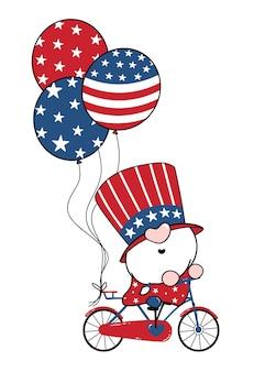 4. juli amerika gnome patriotisch auf dem fahrrad mit luftballons, cartoon-doodle-umriss-flache illustration.