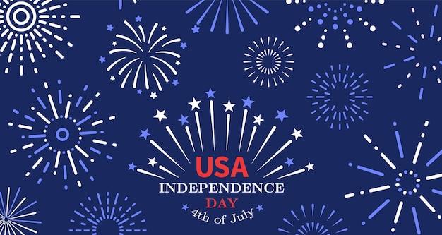 4. juli. freiheitsfeuerwerk, poster zum unabhängigkeitstag der usa. amerikanische freiheit, nationale festliche einladung der vereinigten staaten