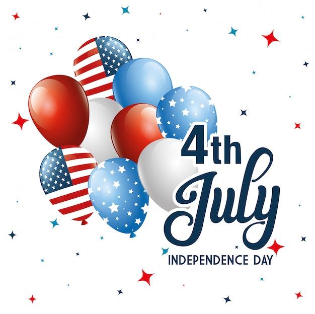 4 juli glücklichen unabhängigkeitstag mit luftballons helium