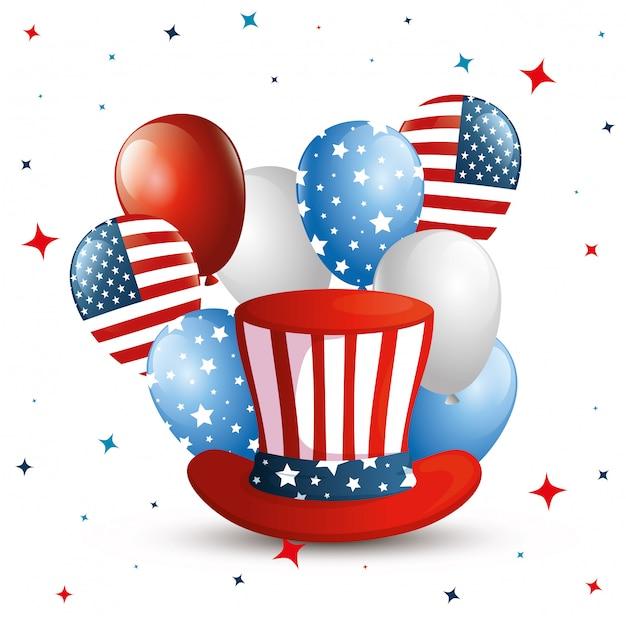 4 juli glücklichen unabhängigkeitstag mit zylinder und dekoration