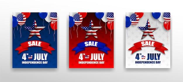 4. juli glücklicher unabhängigkeitstag usa design set