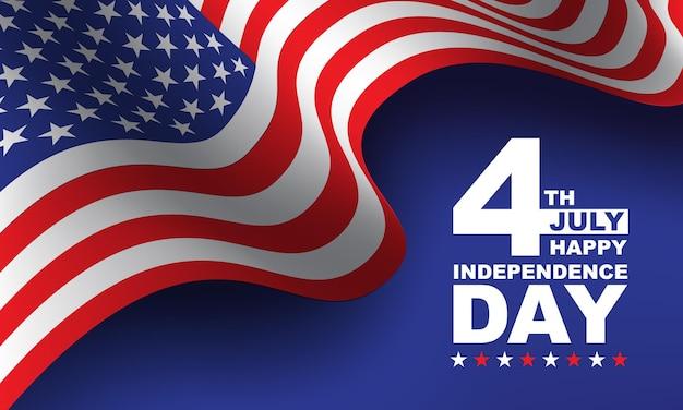 4. juli glücklicher unabhängigkeitstag vereinigte staaten von amerika flaggenwelle auf blau