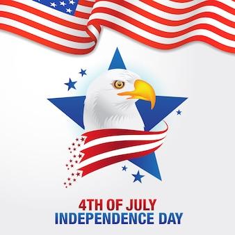 4. juli. glücklicher unabhängigkeitstag von amerika hintergrund mit wehender flagge und weißkopfseeadler, symbol von amerika