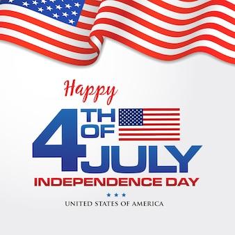 4. juli. glücklicher unabhängigkeitstag von amerika hintergrund mit wehender flagge