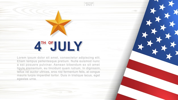 4. juli - hintergrund für den unabhängigkeitstag der usa (vereinigte staaten von amerika) mit weißem holzmuster und textur und amerikanischer flagge. vektor-illustration.
