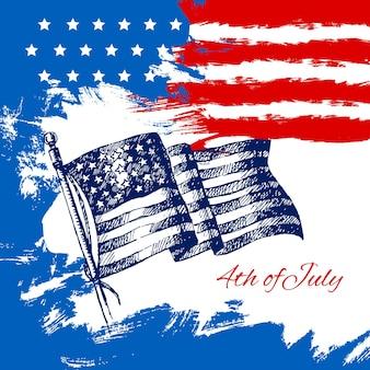 4. juli hintergrund mit amerikanischer flagge. independence day vintage handgezeichnete skizze design