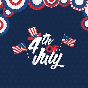 4. juli-schrift mit usa-flaggen, uncle sam-hut und american tricolor paper cut badge auf blue star pattern hintergrund.