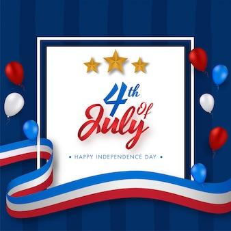 4. juli schriftart mit goldenen sternen, glänzenden luftballons und gewelltem band der amerikanischen flagge