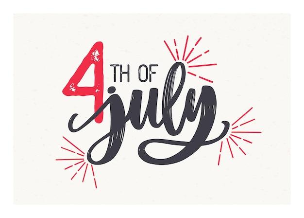 4. juli-schriftzug mit eleganter kursivschrift geschrieben und mit feuerwerk verziert. festliche inschrift zum amerikanischen unabhängigkeitstag isoliert auf heller oberfläche