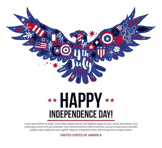 4. juli-unabhängigkeitstag-fahnenschablone mit illustration des fliegenadlers