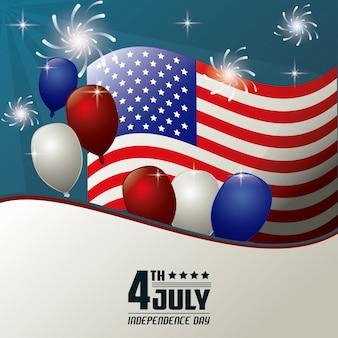 4. juli unabhängigkeitstag flagge ballons feuerwerk feier