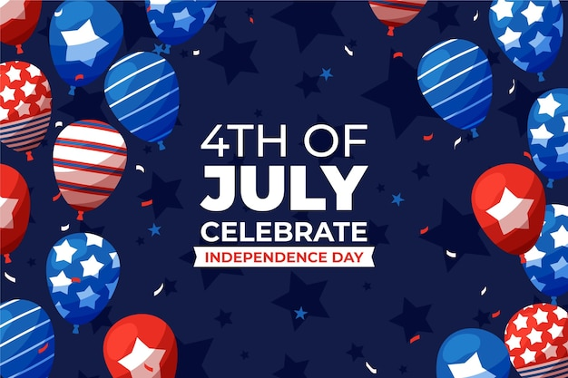 4. juli - unabhängigkeitstagballonhintergrund im flachen entwurf