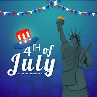 4. juli, unabhängigkeitstagfeierkonzept mit freiheitsstatuen, hut auf glänzendem blauem