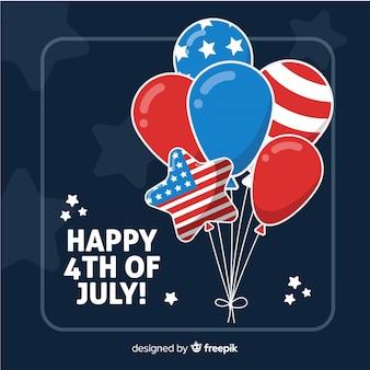 4. juli - unabhängigkeitstaghintergrund mit ballonen