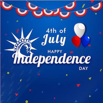 4. juli, unabhängigkeitstagkonzept mit freiheitsstatuengesicht, ballone.