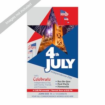 4. juli us-unabhängigkeitstag laden schablone mit bbq, pool-party und feuerwerksanziehungskraft ein.