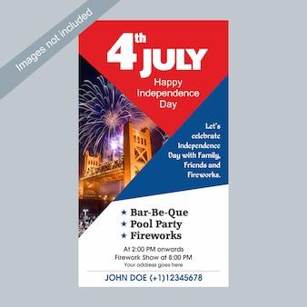 4. juli usa-unabhängigkeitstag-feierschablone mit familie, freunden und feuerwerken.
