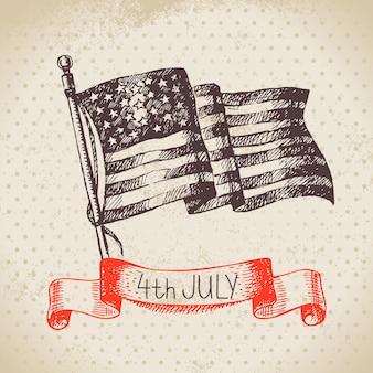 4. juli vintage-hintergrund. independence day of america handgezeichnetes skizzendesign