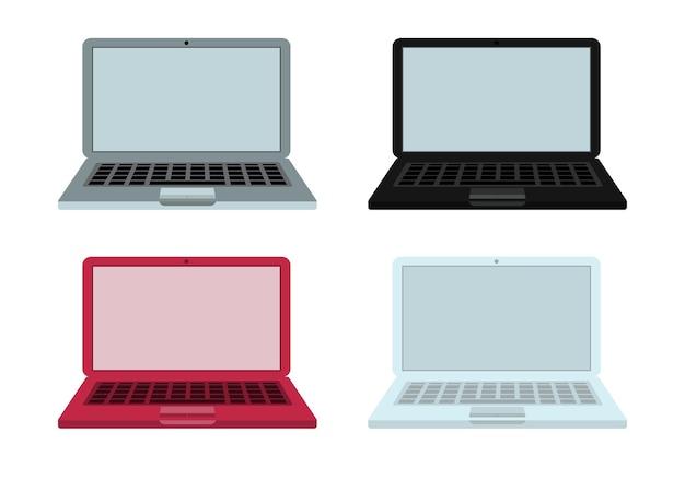4 laptops - weiß, grau, schwarz und rot, vorderansicht, auf weißem, isoliertem hintergrund. vektor-illustration.