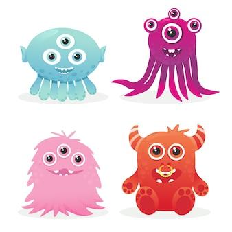 4 lustige monster charakter symbol