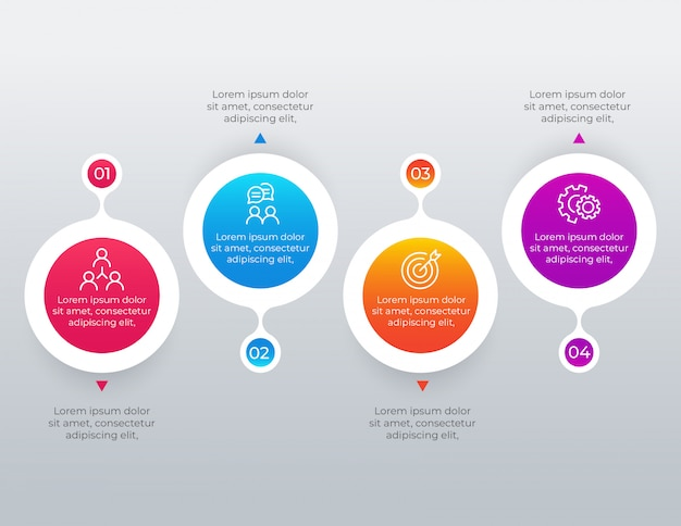 4 optionen schritte infografik