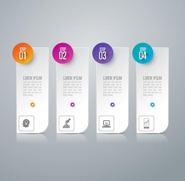 4 schritte business infografik elemente für die präsentation