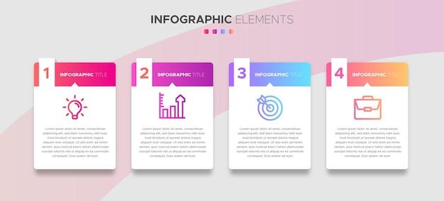 4 schritte business-infografik-elemente mit farbverlaufseffekten