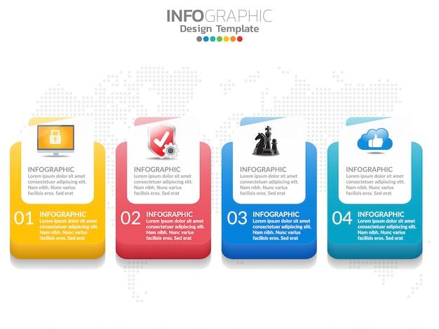 4 schritte der timeline-infografiken-entwurfsvorlage mit optionen, prozessdiagramm.
