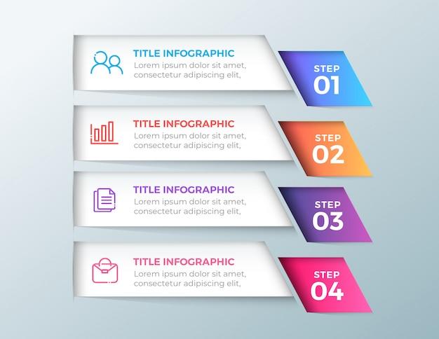 4 schritte infografik banner