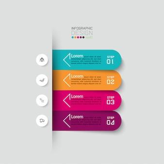 4 schritte infografik design-vorlage.