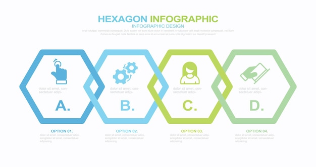 4 schritte infografik stock illustration infografik sechseck vier objekte vektor-flussdiagramm