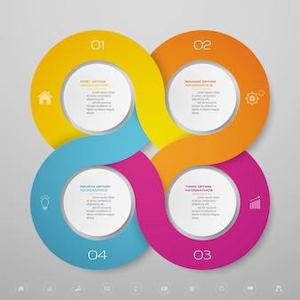 4 schritte infografiken diagramm design-element. zur datenpräsentation.