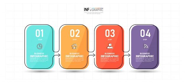 4 schritte timeline infografiken design