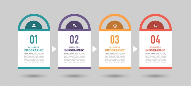 4 schritte timeline infografiken designvorlage.