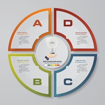 4 schritte zyklus diagramm infografiken elemente.