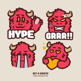 4 setze emote niedliche monster für streamer