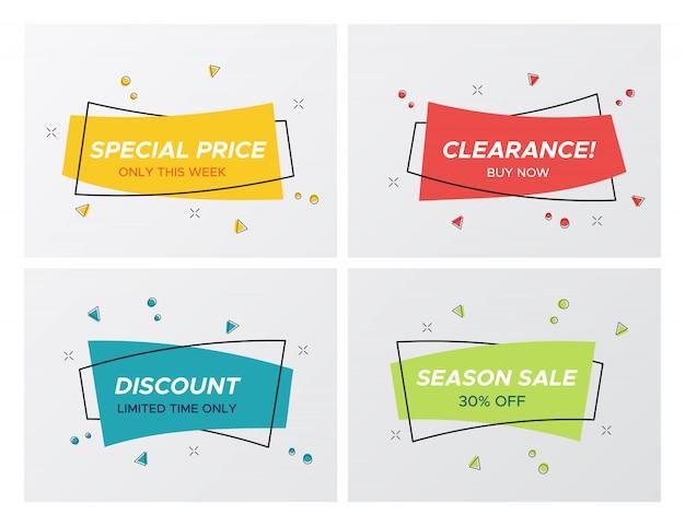 4 trendige flache verkauf pastellfarbe rechteck aufkleber