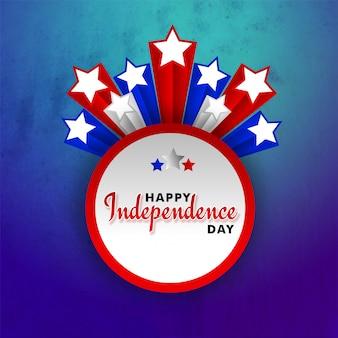 4. von juli, glückliches unabhängigkeitstagfeierkonzept mit sternen auf grungy blau und purp